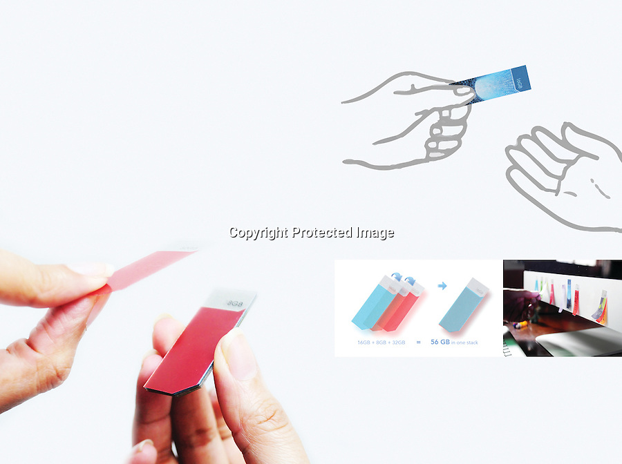 BNPS.co.uk (01202 558833)<br /> Pic: DataStickies/BNPS<br /> <br /> Boffins have invented revolutionary data storage devices that looks like post-it notes and only need to be stuck onto computers to transfer files.<br /> <br /> The tiny, paper-thin drives can be stacked on top of one another like real post-it notes then peeled off as and when they're needed.<br /> <br /> The user can then stick them to the front of their computer, TV, smartphone or tablet to transfer data from them via a special adhesive.<br /> <br /> They are made from graphene, a ground-breaking new material made of a single layer of carbon atoms, and come in a range of different sizes up to 32 gigabytes.<br /> <br /> The clever devices, called Datastickies, are still being developed but it is hoped they will one day replace popular USB drives.<br /> <br /> The award-winning design is the brainchild of designer Aditi Singh and university professor Parag Anand, both from New Delhi, India.