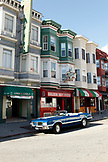 USA, California, San Francisco, a muscle car in front of Golden Boy Pizza, North Beach