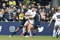 11th January 2020, Parc des Sports Marcel Michelin, Clermont-Ferrand, Auvergne-Rhône-Alpes, France; European Champions Cup Rugby Union, ASM Clermont versus Ulster;  Georga Moala (asm) tackles Stuart Mc Closkey (ulster)
