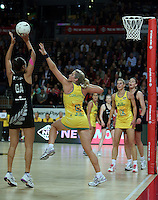 20.09.2012 Silver Ferns Maria Tutaia and Australian Julie Corletto in action during the second netball test match between the Silver Ferns and the Australian Diamonds played at Vector Arena in Auckland. Mandatory Photo Credit ©Michael Bradley.