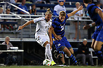 26 September 2014: Boston College's Phil Sandgren (SWE) (8) and Duke's Nat Eggleston (18). The Duke University Blue Devils hosted the Boston College Eagles at Koskinen Stadium in Durham, North Carolina in a 2014 NCAA Division I Men's Soccer match. Duke won the game 1-0.