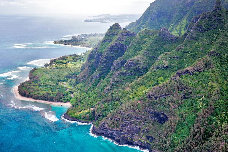 Kee Beach from the air. Kauai, Hawaii.
