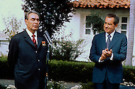 Leonid Ilyich Brezhnev, General secretary of the CPSU CC in the USA. San Clemente, CA. The signing of the Joint Soviet-American Communique. Leonid Ilyich Brezhnev making a speech at the signing ceremony. Right: Richard Nixon, President of the USA. June 26, 1973 - - A break in at the Democratic National Committee headquarters at the Watergate complex on June 17, 1972 results in one of the biggest political scandals the US government has ever seen.  Effects of the scandal ultimately led to the resignation of  President Richard Nixon, on August 9, 1974, the first and only resignation of any U.S. President.