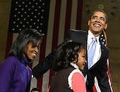 Philadelphia, PA - January 17, 2009 -- United States President-elect Barack Obama, joined by his wife, Michelle, and daughter,  Sasha, 7, arrives on stage for a rally to kickoff his Whistle Stop Train Tour in Philadelphia on Saturday, January 17, 2009. The ceremonial trip will carry President-elect Obama, Vice President-elect Biden and their families to Washington for their inaugurations with additional events in Philadelphia, Wilmington and Baltimore. Obama will be sworn in as the 44th President of the United States on January 20, 2009. .Credit: Kevin Dietsch - Pool via CNP