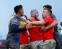 29th February 2020; Thomond Park, Limerick, Munster, Ireland; Guinness Pro 14 Rugby, Munster versus Scarlets; JJ Hanrahan of Munster responds to a punch thrown at him by Sam Lousi of Scarlets