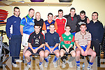 Taking part in the John Roche annual indoor soccer tournament at the Community Centre Listowel on Dec 27th were front l-r Michael F Brassil, kenneth Foley, Darren Russel,and Stephen Kennly.  Backl-r Steve Dugan, David Doherty, Michael Walshe, John Mulvihill, dave Kenrick, Thoma?s Dennehy, Ivan Tydings and William Keane...