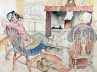 BNPS.co.uk (01202 558833)<br /> Pic: GSpencerEstate/LissLlewellyn<br /> <br /> 'I wish I wasn't Home Guarding tonight'<br /> <br /> Never-before-seen paintings depicting the humourous side of the Home Guard that were censored for being too offensive have come to light nearly 80 years later.<br /> <br /> The light-hearted works were produced by the artist Gilbert Spencer more than 25 years before Dad's Army appeared on TV to huge acclaim. <br /> <br /> But Spencer's witty take on life in the Home Guard wasn't quite so well received during the darkest days of the Second World War.<br /> <br /> Spencer was too old to enlist in the army and so joined the Home Guard. In wanting to do his bit he produced 14 paintings based on his amusing observations of the citizen militia that were aimed at cheering up the nation.