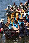 Canoe Journey, Paddle to Nisqually, 2016, Nanaimo Band, Nanaimo Canoes, 7-30-2016, Salish Sea, Puget Sound, Washington State, USA,