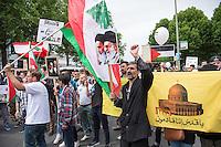 """Ca. 1000 Menschen protestierten am Samstag den 11. Juli 2015 in Berlin mit einer Demonstration anlaesslich des anti-israelischen Al Quds-Tag. Sie riefen Parolen wie """"Kindermoerder Israel"""" und """"Israel raus aus Palaestina"""".<br /> Am sogenannten Al Quds-Tag protestieren weltweit Muslime gegen die Besetzung der palaestinensischen Gebiete durch Israel.<br /> Etwa 2050 bis 300 Menschen protestierten gegen die Demonstration.<br /> 11.7.2015, Berlin<br /> Copyright: Christian-Ditsch.de<br /> [Inhaltsveraendernde Manipulation des Fotos nur nach ausdruecklicher Genehmigung des Fotografen. Vereinbarungen ueber Abtretung von Persoenlichkeitsrechten/Model Release der abgebildeten Person/Personen liegen nicht vor. NO MODEL RELEASE! Nur fuer Redaktionelle Zwecke. Don't publish without copyright Christian-Ditsch.de, Veroeffentlichung nur mit Fotografennennung, sowie gegen Honorar, MwSt. und Beleg. Konto: I N G - D i B a, IBAN DE58500105175400192269, BIC INGDDEFFXXX, Kontakt: post@christian-ditsch.de<br /> Bei der Bearbeitung der Dateiinformationen darf die Urheberkennzeichnung in den EXIF- und  IPTC-Daten nicht entfernt werden, diese sind in digitalen Medien nach §95c UrhG rechtlich geschuetzt. Der Urhebervermerk wird gemaess §13 UrhG verlangt.]"""