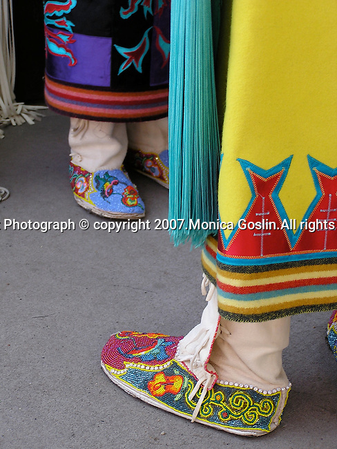 Detail of the the shoes of two girls at costume contest at the Indian Market in Santa Fe, New Mexico.