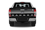 Straight rear view of a 2014 Ford Ranger Limited 4 Door Pickup Rear View  stock images