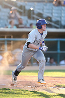 Billy McKinney #7 of the Stockton Ports runs to first base during a game against the Lancaster JetHawks at The Hanger on June 24, 2014 in Lancaster, California. Stockton defeated Lancaster, 6-4. (Larry Goren/Four Seam Images)