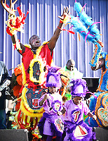 Mardi Gras Indians parade in New Orleans, LA on Super Sunday, the day after St. Joseph's Day.