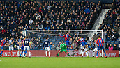 2nd December 2017, The Hawthorns, West Bromwich, England; EPL Premier League football, West Bromwich Albion versus Crystal Palace; Christian Benteke of Crystal Palace heads the ball at the West Bromwich goal