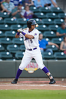 Johan Cruz (5) of the Winston-Salem Dash at bat against the Buies Creek Astros at BB&T Ballpark on April 13, 2017 in Winston-Salem, North Carolina.  The Dash defeated the Astros 7-1.  (Brian Westerholt/Four Seam Images)