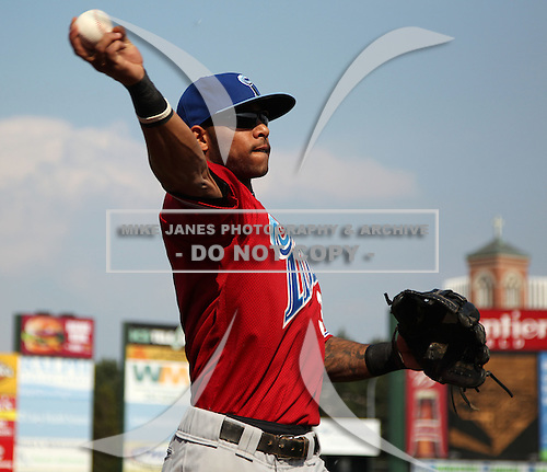 Norfolk Tides Shortstop Robert Andino (3) during a game vs. the Rochester Red Wings at Frontier Field in Rochester, New York;  May 31, 2010.  Norfolk defeated Rochester by the score of 2-1.  Photo By Mike Janes/Four Seam Images