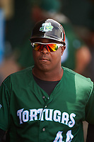 Daytona Tortugas hitting coach Gookie Dawkins (44) during a game against the Clearwater Threshers on April 20, 2016 at Bright House Field in Clearwater, Florida.  Clearwater defeated Daytona 4-2.  (Mike Janes/Four Seam Images)