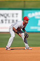 Palm Beach Cardinals shortstop Edmundo Sosa (3) during the first game of a doubleheader against the Clearwater Threshers on April 13, 2017 at Spectrum Field in Clearwater, Florida.  Clearwater defeated Palm Beach 1-0.  (Mike Janes/Four Seam Images)