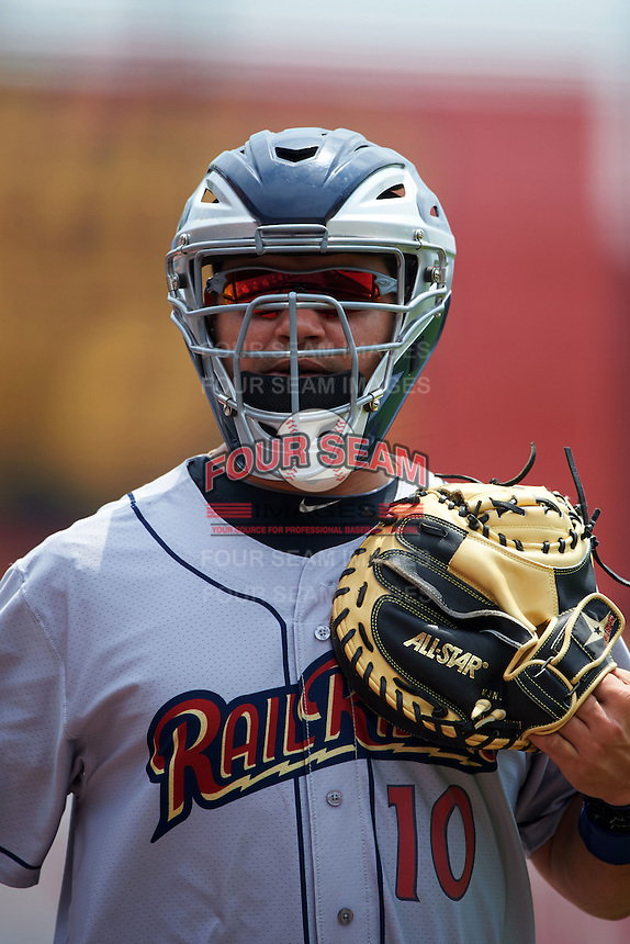 Scranton/Wilkes-Barre RailRiders catcher Eddy Rodriguez (10) in the bullpen during a game against the Buffalo Bisons on June 10, 2015 at Coca-Cola Field in Buffalo, New York.  Scranton/Wilkes-Barre defeated Buffalo 7-2.  (Mike Janes/Four Seam Images)