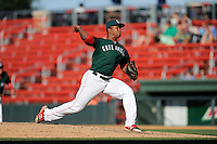 Pitcher Carlos Pinales  (48) of the Greenville Drive delivers a pitch in a game against the Charleston RiverDogs on Sunday, June 28, 2015, at Fluor Field at the West End in Greenville, South Carolina. Charleston won, 12-9. (Tom Priddy/Four Seam Images)