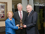 Pictured at the Limerick Sports Partnership Sports Awards were: Winner Marion Collins presented by Jim Carroll and UL President Donn Barry<br /> Picture  Credit Brian Gavin Press 22