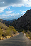 Lone hiker in Sabino Canyon, Sabino Canyon Recreation Area, Coronado National Forest, Tucson, Arizona