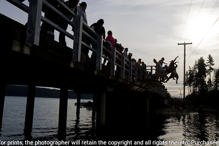 A group of jumpers in the 28th annual Polar Bear leap into the Burley Lagoon in Olalla, Washington on January 1, 2012. Over 500 hardy participants  braved the chilly lagoon waters to join in on the annual New Year's Day Tradition.  ©2012. Jim Bryant. All Rights Reserved.