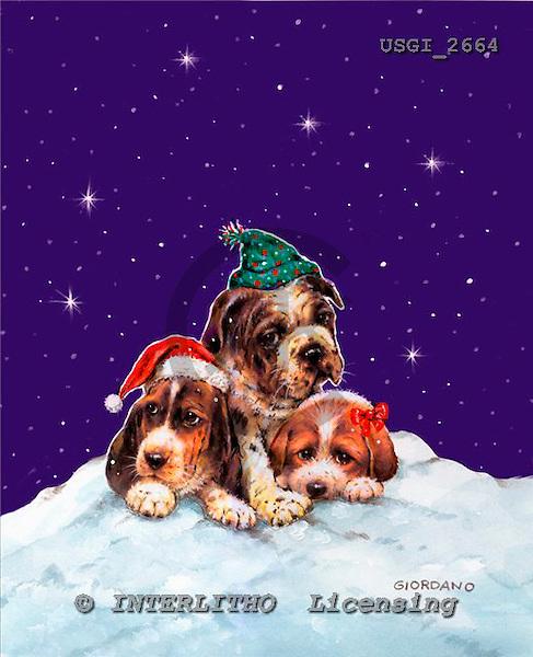 GIORDANO, CHRISTMAS ANIMALS, WEIHNACHTEN TIERE, NAVIDAD ANIMALES, paintings+++++,USGI2664,#XA# dogs,puppies