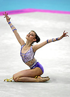 1 OCTOBER 1999 - OSAKA, JAPAN: Yulia Barsoukova of Russia performs with rope at the 1999 World Championships in Osaka, Japan. She won bronze in the women's all around and went onto to become 2000 Olympic champion in rhythmic gymnastics