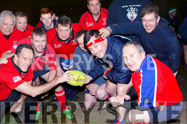 Mike Ryan captain of Morris RFC New Jersey and Andy Smith of Castleisland RFC holding the match ball before their encounter in a friendly on Friday evening last in Castleisland.