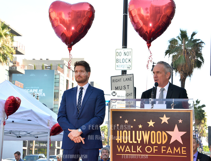LOS ANGELES, CA. November 16, 2018: Michael Buble &amp; Tom Corson at the Hollywood Walk of Fame Star Ceremony honoring singer Michael Bubl&eacute;.<br /> Pictures: Paul Smith/Featureflash