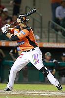 Luis Alfonso Garcia durante el juego de beisbol de Naranjeros vs Cañeros durante la primera serie de la Liga Mexicana del Pacifico.<br /> 15 octubre 2013