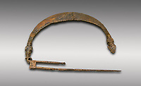 Phrygian bronze fibula from Gordion. Phrygian Collection, 8th-7th century BC - Museum of Anatolian Civilisations Ankara. Turkey.