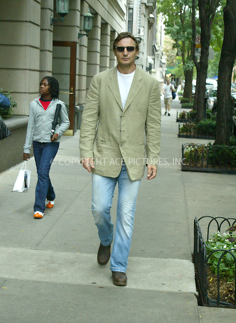 WWW.ACEPIXS.COM ** ** **EXCLUSIVE!!! FEE MUST BE NEGOTIATED BEFORE USE!!!***....NEW YORK, OCTOBER 7, 2005....Liam Neeson has a leisurely stroll on the Upper West Side.....Please byline: PAUL CUNNINGHAM - ACE PICTURES.. *** ***  ..Ace Pictures, Inc:  ..Craig Ashby (212) 243-8787..e-mail: picturedesk@acepixs.com..web: http://www.acepixs.com