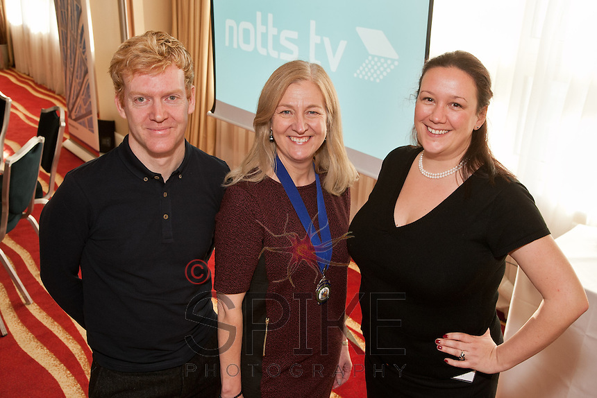 Club President Dianne Allen (centre) is pictured with speakers James Brindle and Charlie Blomeley from Notts TV, the new station coming to Channel 8 in the Nottinghamshire area.