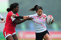Misaki Suzuki of Japan in action. FISU World University Championship Rugby Sevens Women's Semi Final between Japan and Canada on July 9, 2016 at the Swansea University International Sports Village in Swansea, Wales. Photo by: Patrick Khachfe / Onside Images