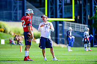July 28, 2017: New England Patriots offensive coordinator Josh McDaniels talks to quarterback Tom Brady (12) at the New England Patriots training camp held at Gillette Stadium, in Foxborough, Massachusetts. Eric Canha/CSM