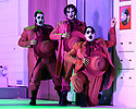 """EMBARGOED UNTIL 23:00 FRIDAY 18 OCTOBER 2019: London, UK. 16.10.2019.  English National Opera presents """"The Mask of Orpheus"""", by Sir Harrison Birthwhistle, libretto by Peter Zinovieff, at the London Coliseum, in its first London restaging in the 30 years since its premiere, coinciding with the celebration of Sir Harrison's 85th birthday. Directed by Daniel Kramer, with lighting design by Peter Mumford, set design by Lizzie Clachan and costume design by Daniel Lismore. Picture shows: David Ireland, William Morgan, Simon Wilding (Judges of the Dead). Photograph © Jane Hobson."""