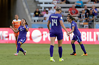 Houston, TX - Saturday June 17, 2017: Camila Martins Pereira celebrates her goal during a regular season National Women's Soccer League (NWSL) match between the Houston Dash and the Orlando Pride at BBVA Compass Stadium.