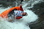 2 June 2007: Thirteen year old freestyle kayaker, Dane Jackson is all focus in the Pro Men's Freestyle competition at  the Teva Mountain Games, Vail, Colorado.