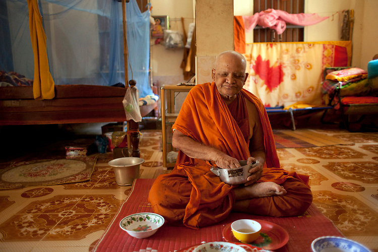An 80-year-old blind monk lives in a temple in a village near Battambang, Cambodia. <br /> <br /> Photos &copy; Dennis Drenner 2013.