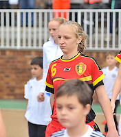 20131011 - SCHWEINFURT , GERMANY :  Belgian Inne De Smet pictured during the female soccer match between Belgium Women U17 and The Netherlands U17 , in the first game of the Elite round in group6 in the UEFA European Women's Under 17 competition 2013 in the Willy Sachs Stadium - Schweinfurt. Friday 11 October 2013. PHOTO DAVID CATRY
