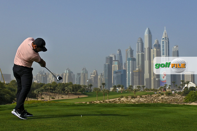Alexander Levy (FRA) on the 8th tee during Round 2 of the Omega Dubai Desert Classic, Emirates Golf Club, Dubai,  United Arab Emirates. 25/01/2019<br /> Picture: Golffile | Thos Caffrey<br /> <br /> <br /> All photo usage must carry mandatory copyright credit (© Golffile | Thos Caffrey)