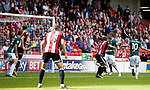 Billy Sharp of Sheffield Utd scores the winning goal during the English Championship League match at Bramall Lane Stadium, Sheffield. Picture date: August 5th 2017. Pic credit should read: Simon Bellis/Sportimage