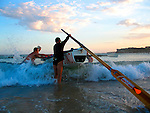Surf boat during a training session at Bondi Beach.