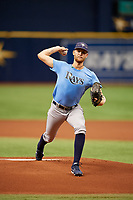 Easton McGee (22) delivers a pitch during the Tampa Bay Rays Instructional League Intrasquad World Series game on October 3, 2018 at the Tropicana Field in St. Petersburg, Florida.  (Mike Janes/Four Seam Images)
