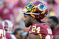 Landover, MD - August 24, 2018: Washington Redskins defensive back Josh Norman (24) on the sideline before preseason game between the Denver Broncos and Washington Redskins at FedEx Field in Landover, MD. The Broncos defeat the Redskins 29-17. (Photo by Phillip Peters/Media Images International)