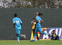 MONTERIA - COLOMBIA, 30-03-2019: Delio Ojeda de Jaguares celebra después de anotar el primer gol de su equipo durante el partido por la fecha 12 de la Liga Águila I 2019 entre Jaguares de Córdoba F.C. y Atlético Junior jugado en el estadio Jaraguay de la ciudad de Montería. / Delio Ojedaof Jaguares de Cordoba F.C. celebrates after scoring the first goal of his team during match for the date 12 as part Aguila League I 2019 between Jaguares de Cordoba F.C. and Atletico Junior played at Jaraguay stadium in Monteria city city. Photo: VizzorImage / Andres Felipe Lopez / Cont