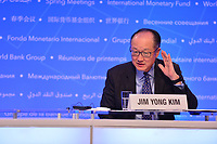 Washington, DC - April 19, 2018: World Bank Group President Jim Yong Kim listens to a question from the media during a press briefing at the Spring Meetings of the International Monetary Fund/World Bank Group in Washington, DC April 19, 2018.  (Photo by Don Baxter/Media Images International)