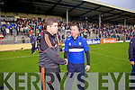 Eamonn Fitzmaurice and Waterford manager Niall Carew last Saturday in Fitzgerald Stadium for the Munster GAA football championship